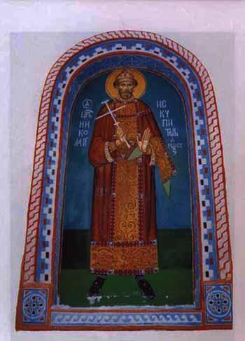 «Святой Царь Николай – Искупитель России» фреска 1990-х годов, о. Бол.Талабский