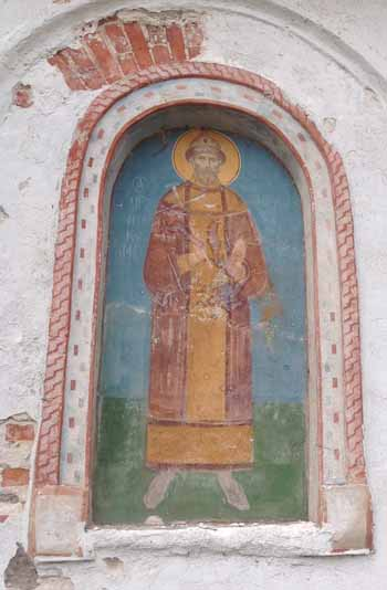 Царь-Искупитель Николай Второй Фреска 1990-х годов, о. Бол.Талабский. 24 августа 2014